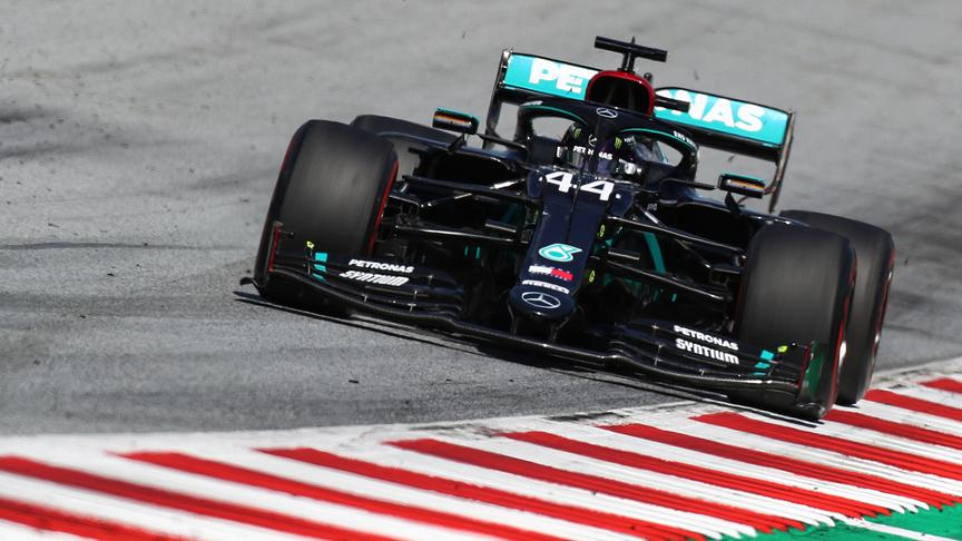 Mercedes' British driver Lewis Hamilton steers his car during the Austrian Formula One Grand Prix race on July 5, 2020 in Spielberg, Austria.